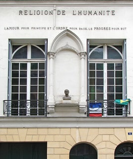 """Picture of the Chapel of Humanity, a place built to practice Auguste Comte's owns religion that he invented after the woman he loved passed away. On the wall is written : """"Love as a principle, Order as a basis, Progress as a goal."""" It's important to note that August Comte is the father of sociology, he was the one to coin the term, and his philosophy greatly influenced modern science."""